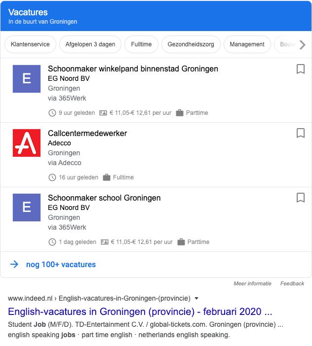 Google for Jobs - voorbeeld schoonmaker Groningen